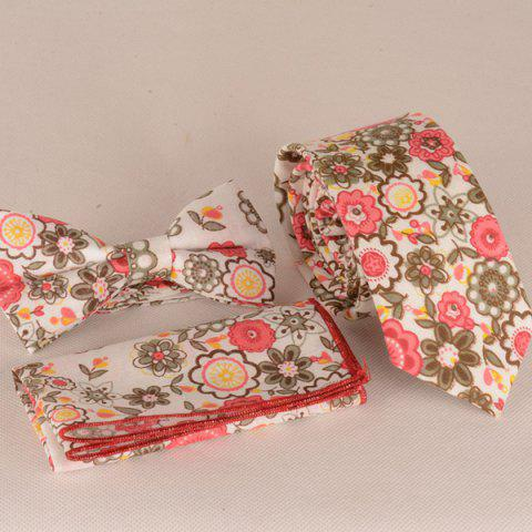 A Set of Flowers Painting Tie Pocket Square Bow Tie - RED