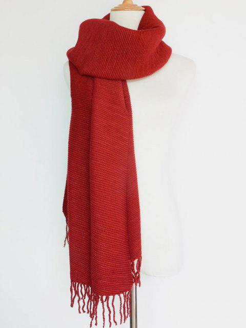Casual Pleated Tassel Long Scarf - RED