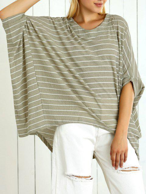 Batwing Sleeve Striped Asymmetrical Loose-Fitting Blouse - PEA GREEN ONE SIZE