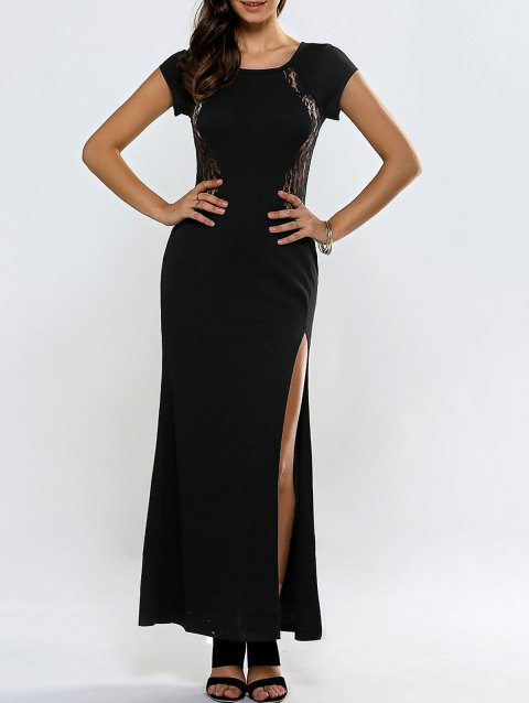 Lace Panel Short Sleeve Slit Maxi Prom Dress - Noir XL