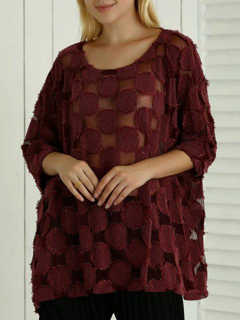 Batwing Sleeve See-Through ample Blouse - Rouge vineux ONE SIZE