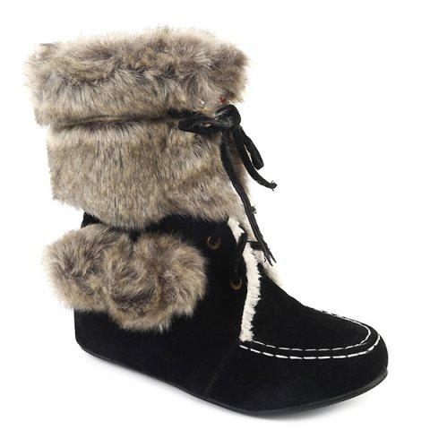 Hairball Suede Lace Up Faux Fur Ankle Snow Boots - BLACK 40