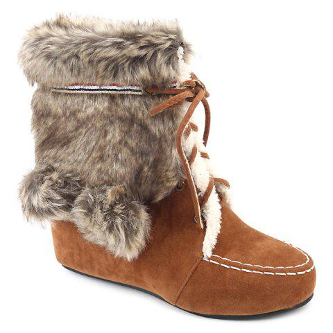 Hairball Suede Lace Up Faux Fur Ankle Snow Boots - LIGHT BROWN 37