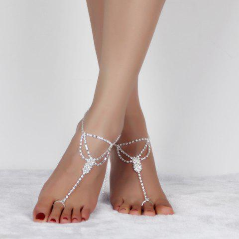 Rhinestoned Cut Out Anklets - SILVER WHITE