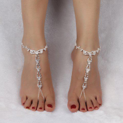 Geometric Rhinestone Anklets - SILVER WHITE
