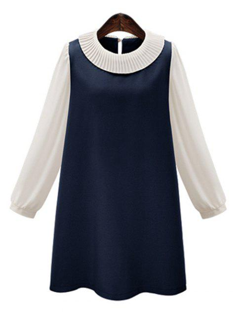 Plus Size Pleated Two Layered Collar Loose A Line Dress - DEEP BLUE XL