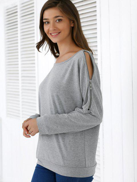 Zipper Agrémentée Spliced ​​Sweatshirt - Gris L
