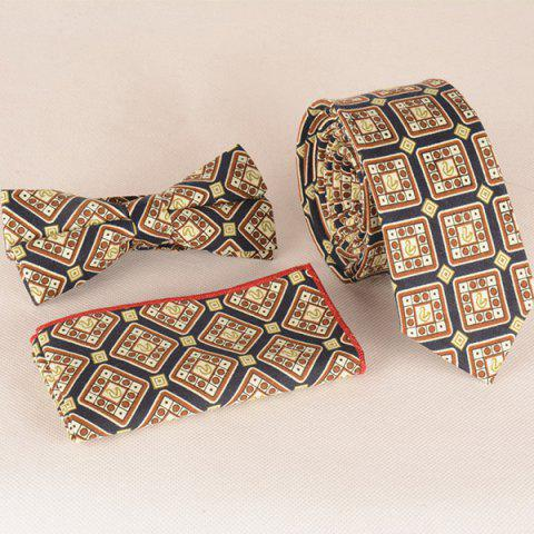 Un ensemble de modèle Retro Plaid Tie Pocket Place Bow Tie - BRUN