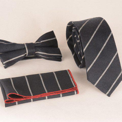 Un ensemble de motifs Twill Stripe Tie Pocket Place Bow Tie - Noir