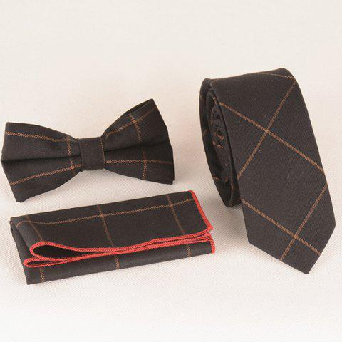 A Set of Concise Gingham Pattern Tie Pocket Square Bow Tie - BLACK