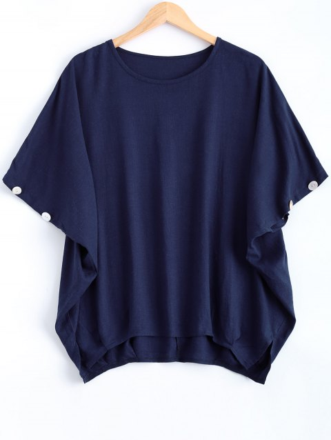 Batwing Sleeve Button Design Loose-Fitting Blouse - PURPLISH BLUE ONE SIZE