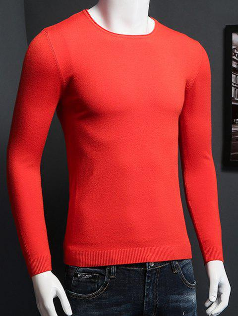 Col rond Plus Size manches longues Pull en maille - Tangerine M