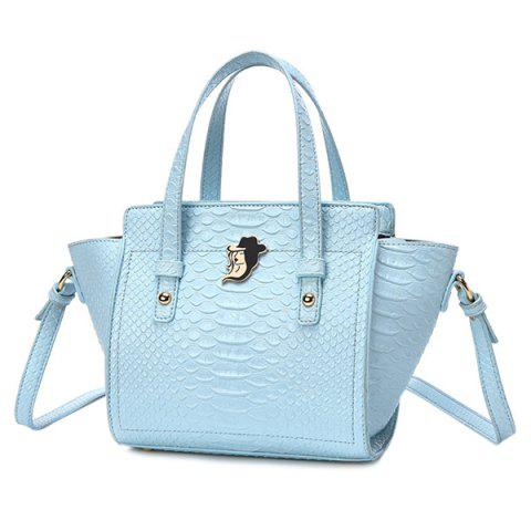 Winged PU Leather Pattern Tote Bag - LIGHT BLUE