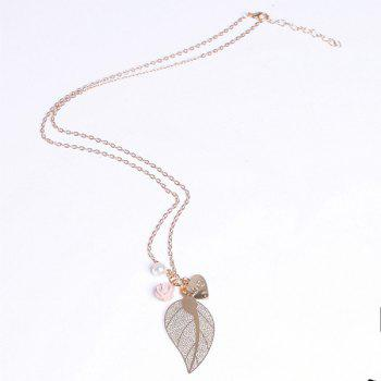 Sweet Delicate Pearl Leaf Flower Heart Pendant Sweater Chain Necklace For Women