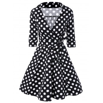 Low Cut Polka Dot Swing Dress