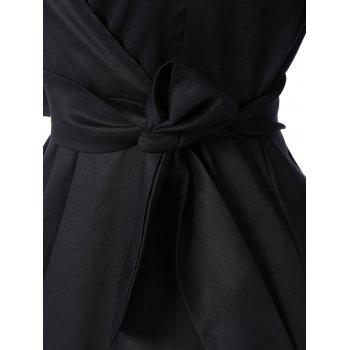 Tie Belt Button Cuff Swing Dress - BLACK 2XL