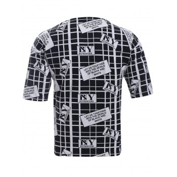 BoyNewYork Drop Shoulder Checked Letters Print T-Shirt - BLACK L