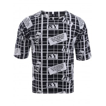 BoyNewYork Drop Shoulder Checked Letters Print T-Shirt