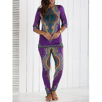 Ethnic Tribal Print Blouse and Slimming Pants Twinset