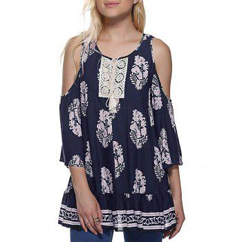 Buy Fashionable Women's Round Neck Cold Shoulder 3/4 Sleeve Print Blouse PURPLISH BLUE