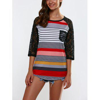 Openwork Lace Splicing Striped T-Shirt With Pocket
