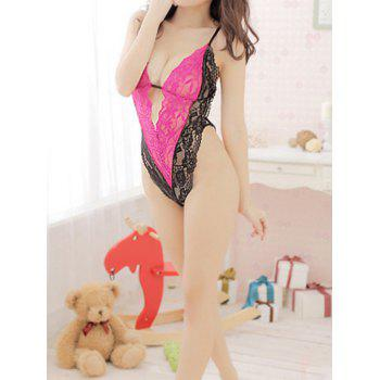 Women's Alluring Color Matching Lace Teddy Sexy Lingerie - ROSE ONE SIZE