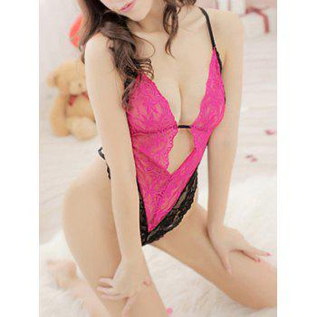 Women's Alluring Color Matching Lace Teddy Sexy Lingerie