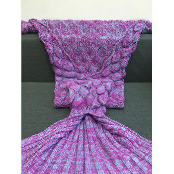 Warmth Crochet Knitting Fish Scales Design Mermaid Tail Style Blanket - LIGHT PURPLE M