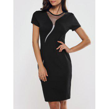 Mesh Spliced Zipper Slimming Sheath Dress