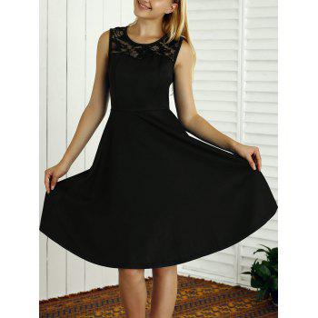 Sleeveless Lace Spliced Openwork Flare Dress - BLACK XL