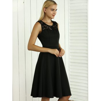 Sleeveless Lace Spliced Openwork Flare Dress - M M