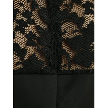 Sleeveless Lace Spliced Openwork Flare Dress - BLACK S