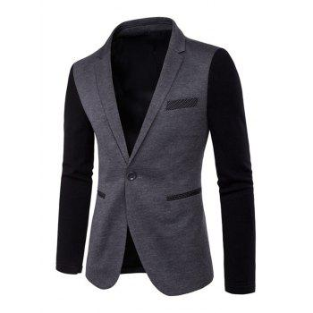 Lapel Long Sleeve Color Splicing One-Button Blazer