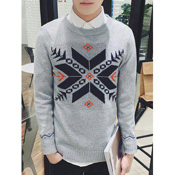 Long Sleeve Zigzag Geometric Pattern Ribbed Sweater