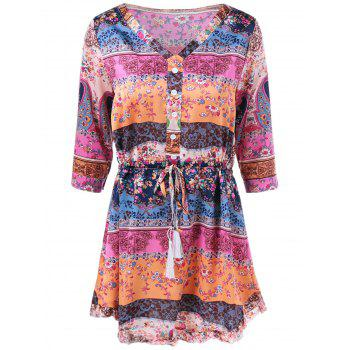 V Neck Colorful Printed Dress