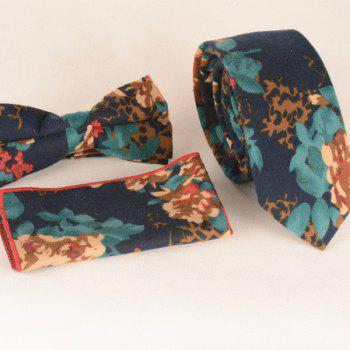 A Set of Oil Painting Flower Leaf Pattern Tie Pocket Square Bow Tie