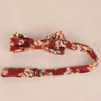 A Set of Oil Painting Tiny Flower Pattern Tie Pocket Square Bow Tie - WINE RED