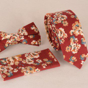A Set of Oil Painting Tiny Flower Pattern Tie Pocket Square Bow Tie