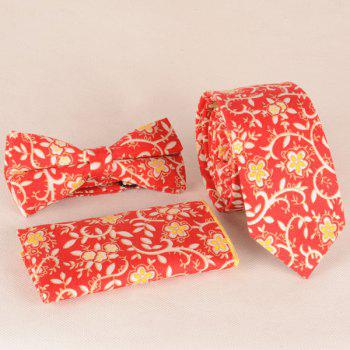 A Set of Flower Rattan Pattern Tie Pocket Square Bow Tie