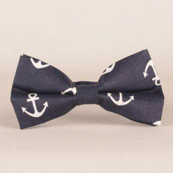 A Set of Boat Anchor Pattern Tie Pocket Square Bow Tie - PURPLISH BLUE