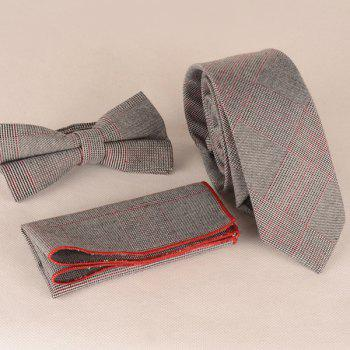 A Set of Plaid Pattern Tie Pocket Square Bow Tie