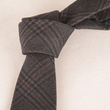 A Set of Deep Tartan Pattern Tie Pocket Square Bow Tie - DEEP GRAY