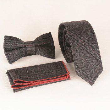 A Set of Deep Tartan Pattern Tie Pocket Square Bow Tie