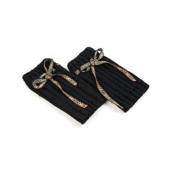 Casual Ethnic Lace-Up Reeved Knitted Boot Cuffs -  BLACK