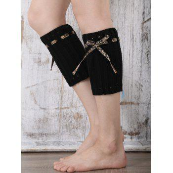 Casual Ethnic Lace-Up Reeved Knitted Boot Cuffs - BLACK BLACK