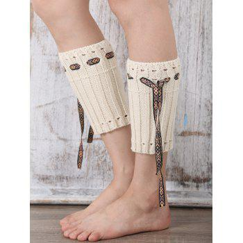 Casual Ethnic Lace-Up Reeved Knitted Boot Cuffs - WHITE WHITE