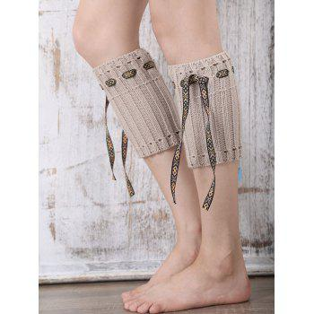Casual Ethnic Lace-Up Reeved Knitted Boot Cuffs - KHAKI KHAKI