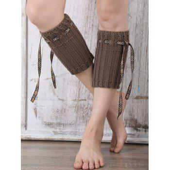 Casual Ethnic Lace-Up Reeved Knitted Boot Cuffs - DARK COFFEE DARK COFFEE