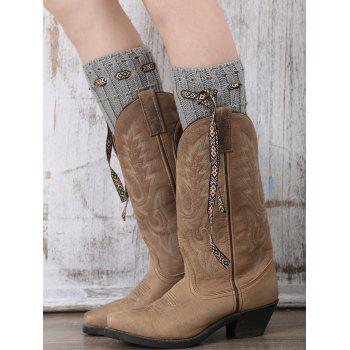 Casual Ethnic Lace-Up Reeved Knitted Boot Cuffs - GRAY GRAY