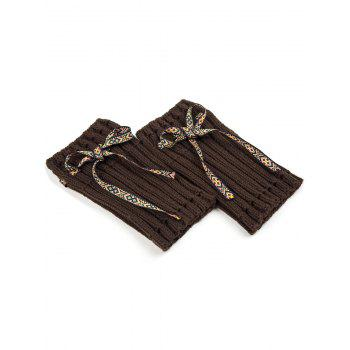 Casual Ethnic Lace-Up Reeved Knitted Boot Cuffs -  CHOCOLATE